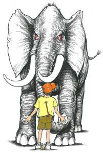 drawing of boy and elephant